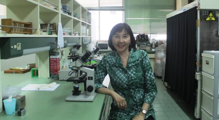 Prof. Indah S. Tantular , dr., M.Kes., Ph.D., Sp.Par-K, in Institute of Tropical Disease (ITD) UNAIR.